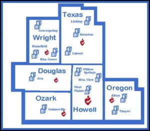 Drawing of the countys served by Ozark Action; Howell, Oregon, Ozark, Douglas, Wright and Texas Countys